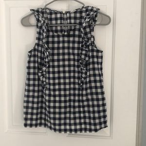 Blue checkered pattern tank top with ruffles